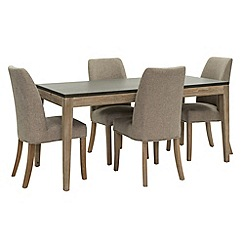 Willis & Gambier - Faro' small concrete effect dining table with 4 upholstered beige chairs