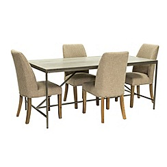 Willis & Gambier - Faro' large concrete effect dining table with 4 upholstered beige chairs