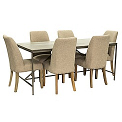 Willis & Gambier - Faro' large concrete effect dining table with 6 upholstered beige chairs