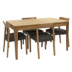 RJR.John Rocha - Oak 'Efni' small extending dining table and 4 dark grey chairs