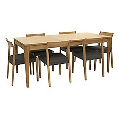 RJR.John Rocha - Oak 'Efni' small extending dining table and 6 dark grey chairs