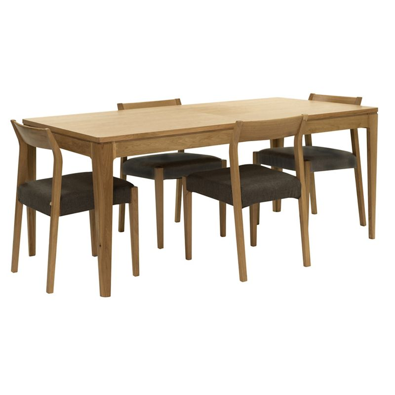 RJR.John Rocha Oak 'Efni' large extending dining table and 4 dark grey chairs