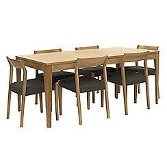 RJR.John Rocha - Oak 'Efni' large extending dining table and 6 dark grey chairs