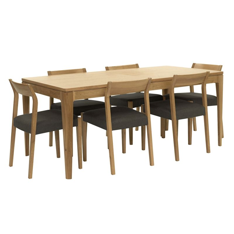 RJR.John Rocha Oak 'Efni' large extending dining table and 6 dark grey chairs