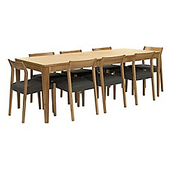 RJR.John Rocha - Oak 'Efni' large extending dining table and 8 dark grey chairs