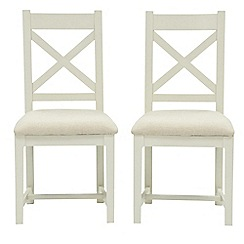 Willis & Gambier - Pair of 'Newquay' cross back dining chairs with cream fabric seats