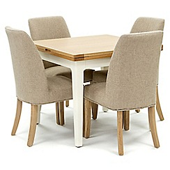 Willis & Gambier - Oak top 'Newquay' flip-top dining table and 4 beige percy dining chairs