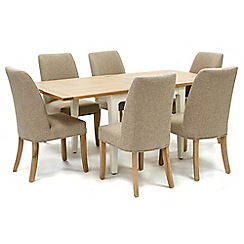 Willis & Gambier - Oak top 'Newquay' flip-top dining table and 6 beige percy dining chairs
