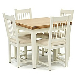 Willis & Gambier - Oak top 'Newquay' flip-top dining table and 4 spindle back dining chairs with cream seats