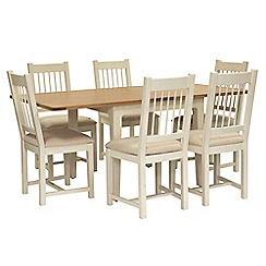 Willis & Gambier - Oak top 'Newquay' flip-top dining table and 6 spindle back dining chairs with beige seats