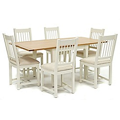 Willis & Gambier - Oak top 'Newquay' flip-top dining table and 6 spindle back dining chairs with cream seats
