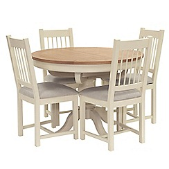 Willis & Gambier - Oak top 'Newquay' round extending dining table and 4 spindle back dining chairs with light grey seat