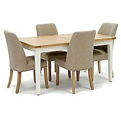 Willis & Gambier - Oak top 'Newquay' small extending dining table and 4 beige percy dining chairs