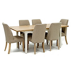 Willis & Gambier - Oak top 'Newquay' small extending dining table and 6 beige percy dining chairs