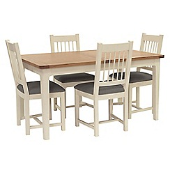 Willis & Gambier - Oak top 'Newquay' small extending dining table and 4 spindle back dining chairs with grey seats