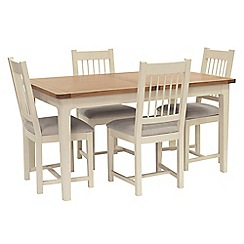 Willis & Gambier - Oak top 'Newquay' small extending dining table and 4 spindle back dining chairs with light grey seat