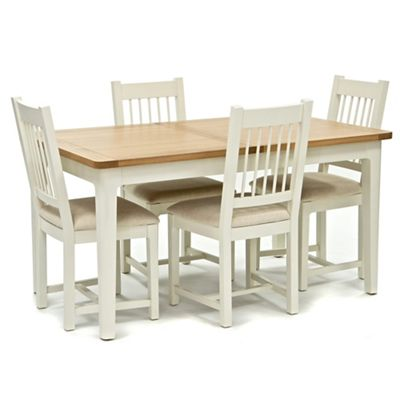 Willis Gambier Oak Top Newquay Small Extending Dining Table And 4 Spindle Back Chairs With Cream Seats