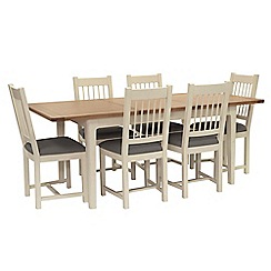 Willis & Gambier - Oak top 'Newquay' small extending dining table and 6 spindle back dining chairs with grey seats