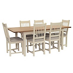 Willis & Gambier - Oak top 'Newquay' small extending dining table and 6 spindle back dining chairs with light grey seat