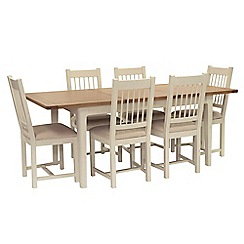 Willis & Gambier - Oak top 'Newquay' small extending dining table and 6 spindle back dining chairs with beige seats