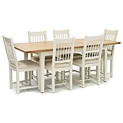 Willis & Gambier - Oak top 'Newquay' small extending dining table and 6 spindle back dining chairs with cream seats