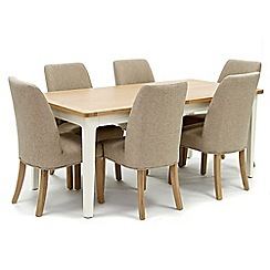 Willis & Gambier - Oak top 'Newquay' large extending dining table and 6 beige percy dining chairs