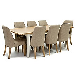 Willis & Gambier - Oak top 'Newquay' large extending dining table and 8 beige percy dining chairs