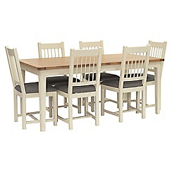 Willis & Gambier - Oak top 'Newquay' large extending dining table and 6 spindle back dining chairs with grey seats