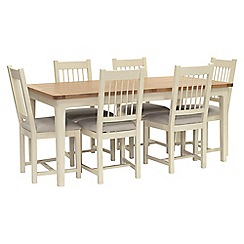 Willis & Gambier - Oak top 'Newquay' large extending dining table and 6 spindle back dining chairs with light grey seat