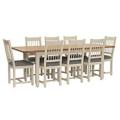 Willis & Gambier - Oak top 'Newquay' large extending dining table and 8 spindle back dining chairs with grey seats