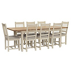 Willis & Gambier - Oak top 'Newquay' large extending dining table and 8 spindle back dining chairs with light grey seat