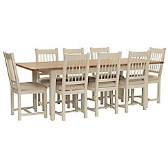 Willis & Gambier - Oak top 'Newquay' large extending dining table and 8 spindle back dining chairs with beige seats