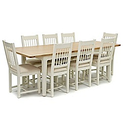 Willis & Gambier - Oak top 'Newquay' large extending dining table and 8 spindle back dining chairs with cream seats