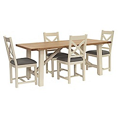 Willis & Gambier - Oak top 'Newquay' trestle dining table and 4 cross back dining chairs with grey seats