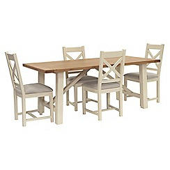 Willis & Gambier - Oak top 'Newquay' trestle dining table and 4 cross back dining chairs with light grey seats