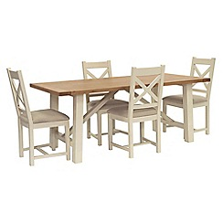 Willis & Gambier - Oak top 'Newquay' trestle dining table and 4 cross back dining chairs with cream seats