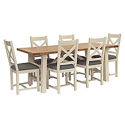 Willis & Gambier - Oak top 'Newquay' trestle dining table and 6 cross back dining chairs with grey seats