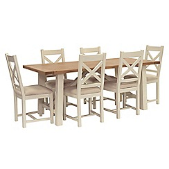 Willis & Gambier - Oak top 'Newquay' trestle dining table and 6 cross back dining chairs with beige seats