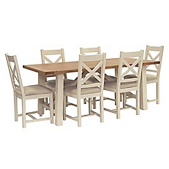 Willis & Gambier - Oak top 'Newquay' trestle dining table and 6 cross back dining chairs with cream seats