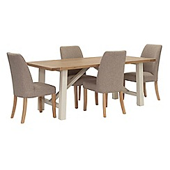 Willis & Gambier - Oak top 'Newquay' trestle dining table and 4 beige percy dining chairs
