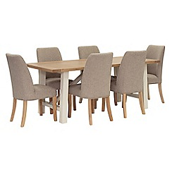 Willis & Gambier - Oak top 'Newquay' trestle dining table and 6 beige percy dining chairs