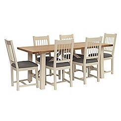 Willis & Gambier - Oak top 'Newquay' trestle dining table and 6 spindle back dining chairs with grey seats