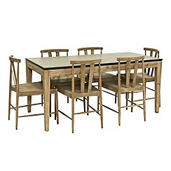 Willis & Gambier - 'Faro' small dining table with 6 carver armchairs