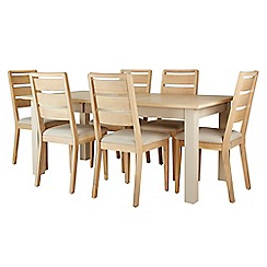 Corndell - Cream painted oak 'Marlow' dining table and 6 white washed chairs