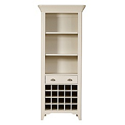 Debenhams - Oak and painted 'Wadebridge' display cabinet with wine rack