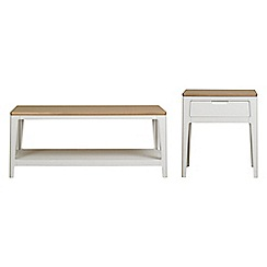 Debenhams - White-washed oak and painted 'Nord' coffee and side table set