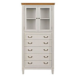 Willis & Gambier - Oak and painted 'Florence' glazed display cabinet with 5 drawers