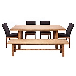 RJR.John Rocha - Oak 'Trinity' fixed-top table with 4 chairs and bench