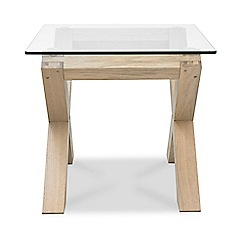 Debenhams - Oak and glass 'Turin' side table