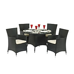 Debenhams - Black wicker 'Cannes' table and 4 carver chairs
